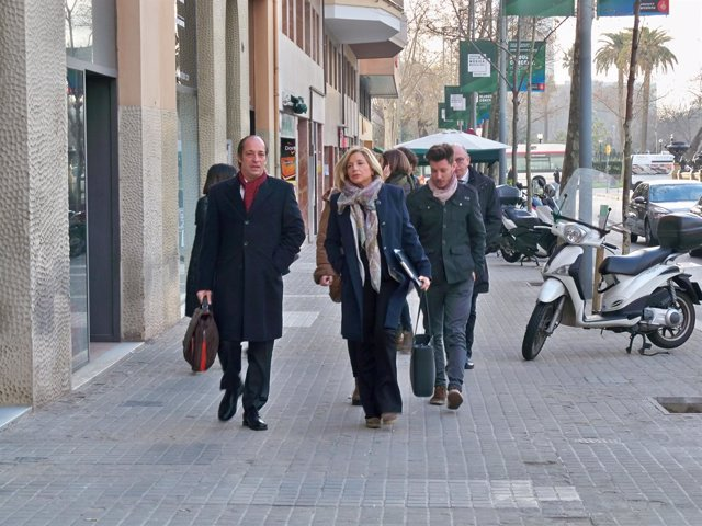 Joana Ortega y su abogado Rafael Entrena llegan al último día del juicio del 9N