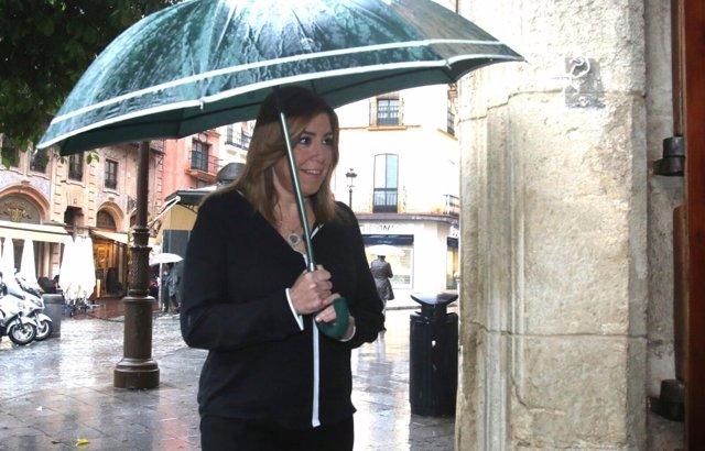 Susana Díaz, a su llegada a los Desayunos de Europa Press Andalucía