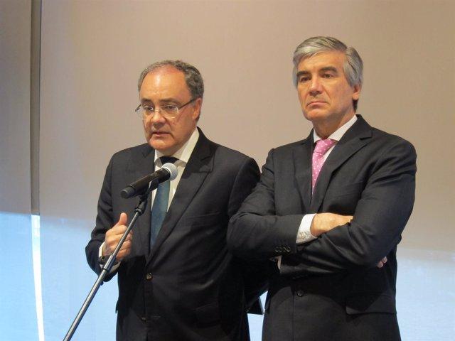 T.Martínez y F.Reynés durante la junta de Cellnex