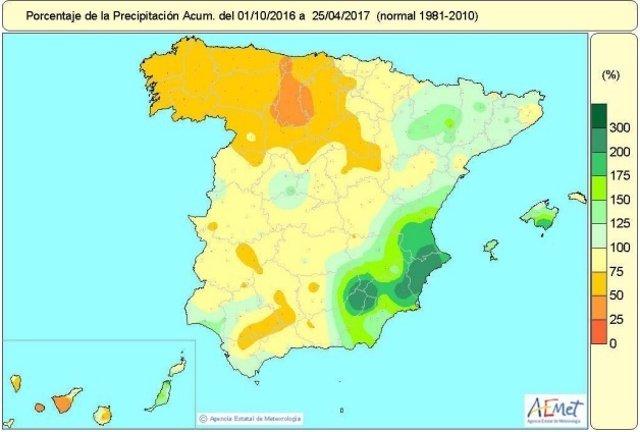 Distribución acumulada de lluvias en España del 1-9-2016 al 25-04-2017