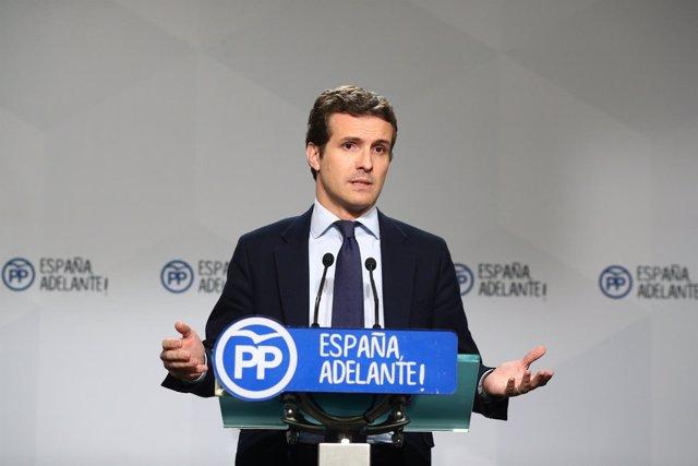 Pablo Casado en rueda de prensa en la sede del PP