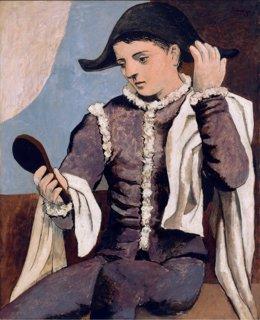 La obra 'Arlqueín con espejo', de Picasso