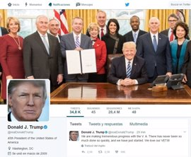 100 días y 486 'tuits' de Donald Trump como presidente de EEUU en Twitter
