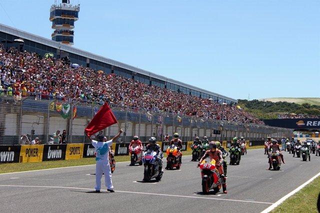 Salida en el Gran Premio de Motociclismo de Jerez