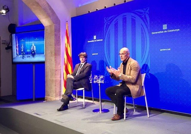 Carles Puigdemont (pte.De la Generalitat) conseller Raül Romeva