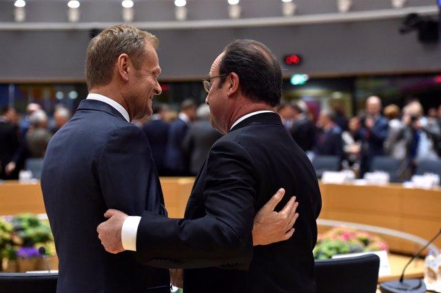 Hollande y Tusk