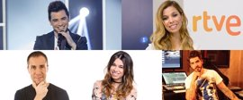 David Civera, Natalia, Paula Rojo, Rubén Villanueva y Antonio Hueso, jurado profesional de RTVE para Eurovisión