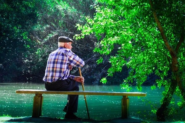 Anciano, mayor, meditando, meditar, lago, banco, sentado
