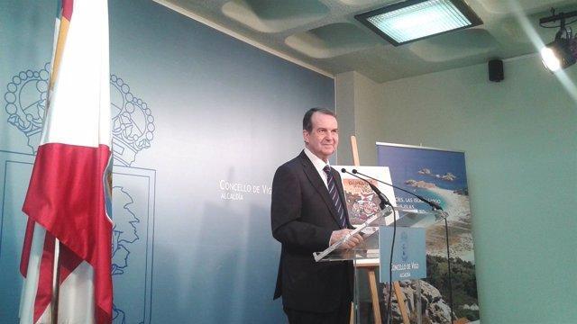 El alcalde de Vigo, Abel Caballero, en la rueda de prensa