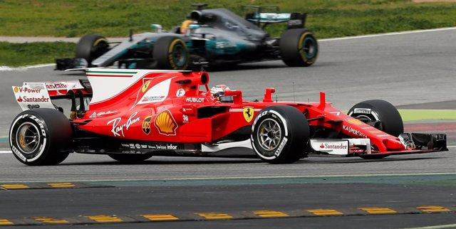 Kimi Raikkonen con Ferrari en las pruebas de Montmeló