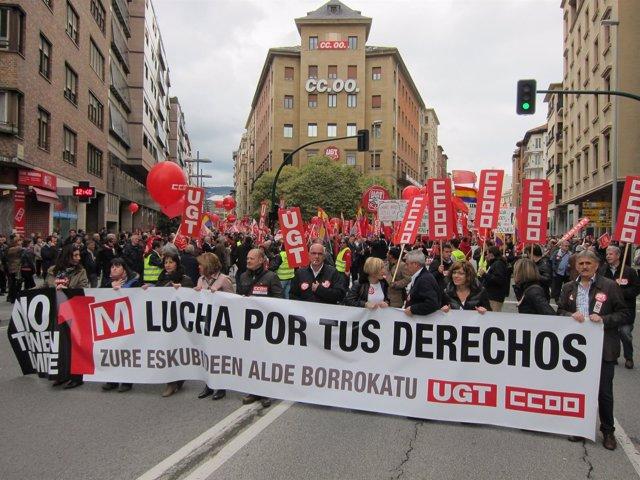 Manifestacíon del Primero de Mayo convocada por UGT y CCOO en Pamplona en 2013