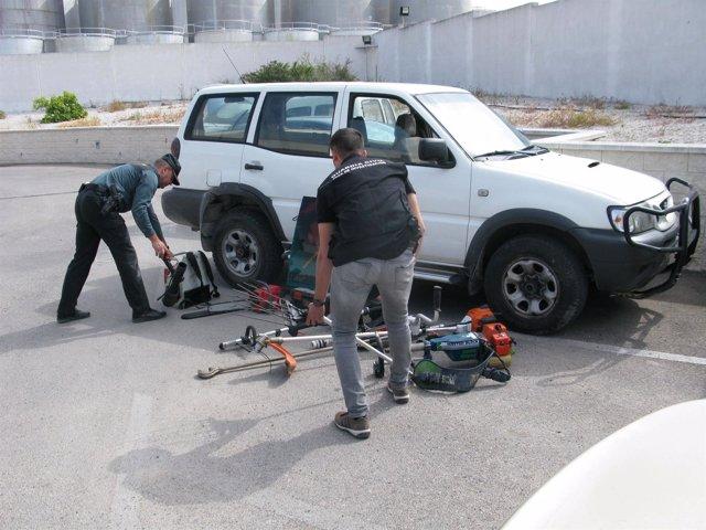 Objetos recuperados por la Guardia Civil en Baena tras 13 robos