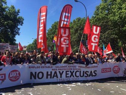 Comienza en Madrid la manifestación del 1 de mayo para recuperar derechos y denunciar la corrupción