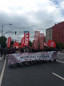 Protesta central del 1 de mayo en A Coruña de UGT y CC.OO.