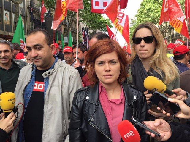 Elisenda Alamany, portavoz de los 'comuns', en la manifestación del 1 de Mayo