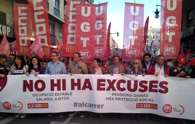 Manifestación por el 1 de Mayo en València