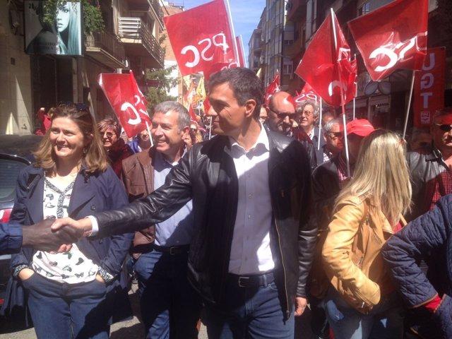 Pedro Sánchez (PSOE) en la manifestación del 1 de Mayo en Lleida