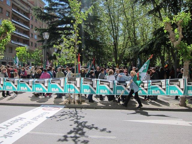 Manifestación de ELA en Pamplona por el Primero de Mayo.