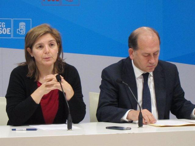 Pilar Cancela y Xoaquín Fernández Leiceaga (PSdeG), en rueda de prensa