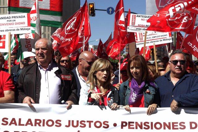 Ccoo ugt málaga manifestación día trabajador Primero de Mayo