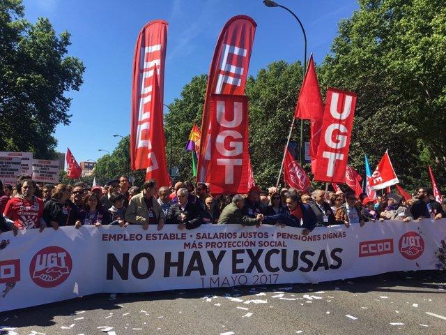 Manifestación convocada por UGT y CCOO en el Día del Trabajador