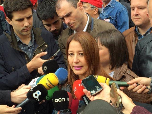 Sonia Sierra (Cs) en la manifestación del 1 de Mayo en Barcelona