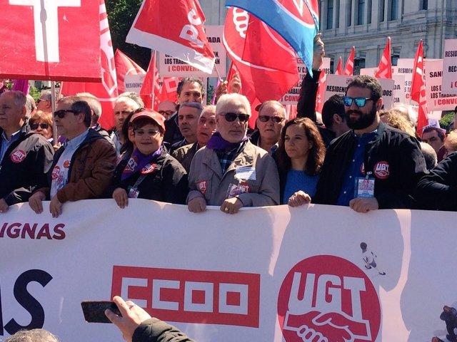 Sara Hernández en la manifestación del 1 de mayo