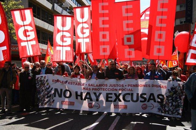 Conmemoración del Primero de Mayo en Zaragoza.