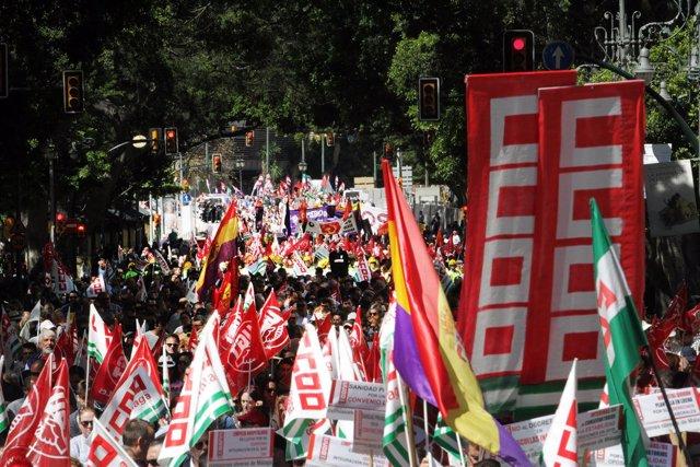 Manifestación central por el 1 de Mayo en Malaga