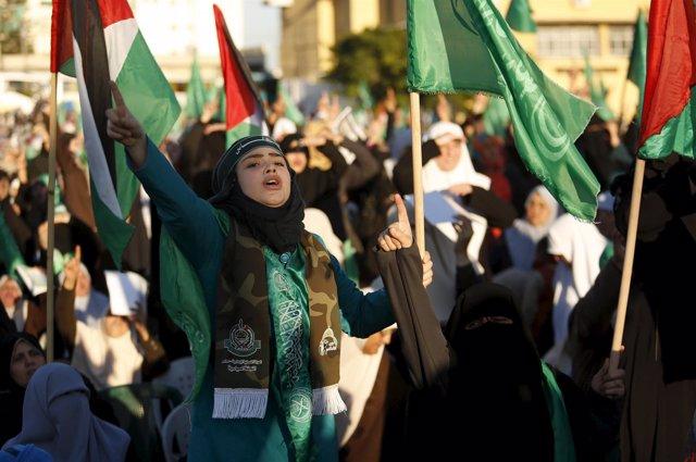 Manifestación de palestinos en Gaza