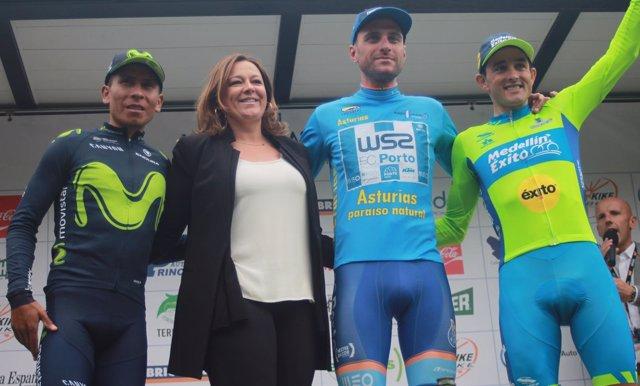 Raúl Alarcón, Nairo Quintana y Óscar Sevilla, podio en Asturias