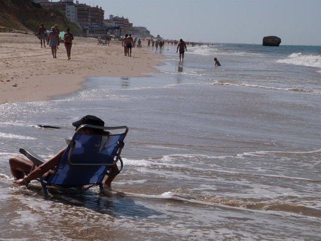 Playa de Matalascañas. Bañista, veraneante.
