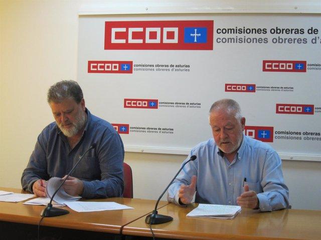 El secretario general de CCOO Asturias, Antonio Pino y Gilberto García