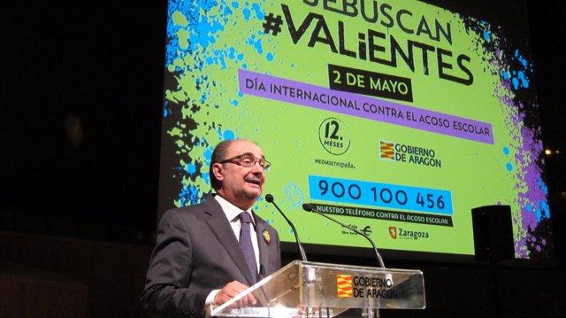 Lambán participa en el cierre de la campaña 'Se buscan valientes', de Mediaset
