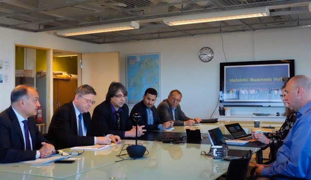 Puig y Marzà durante una reunión de trabajo en Finlandia