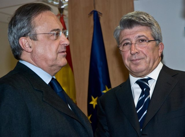 florentino perez presidente real madrid y enrique cerezo presidente atletico de