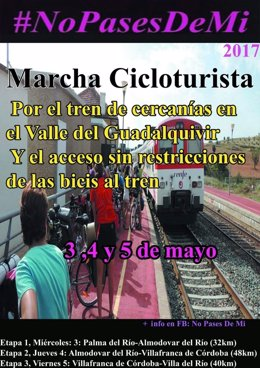 Cartel de la marcha en bici para reclamar el cercanías