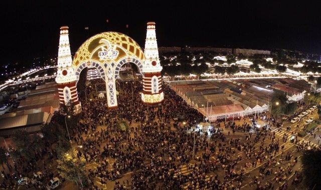 Alumbrado de la Feria de Abril de Sevilla de 2017.