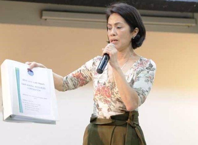 Regina López, en una comparecencia como ministra de Medio Ambiente de Filipinas