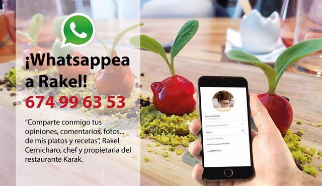 Cartel del whatsapp de Rakel