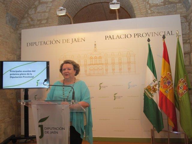 Pilar Parra informando sobre el contenido del pleno