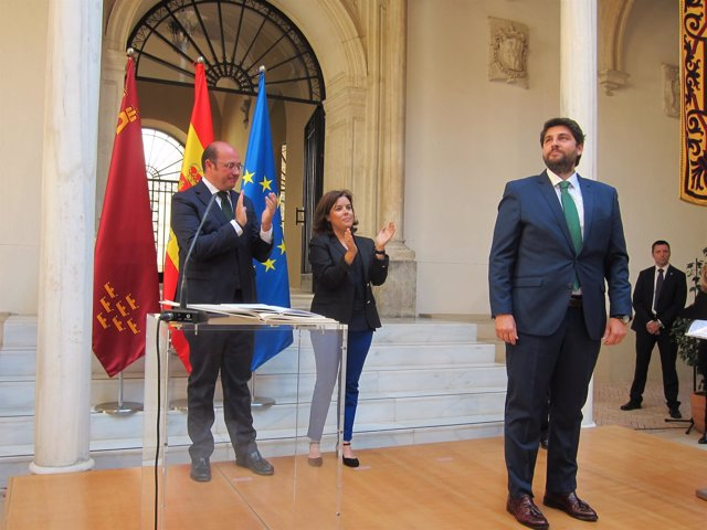 López Miras en su toma posesión junto Pedro Antonio Sánchez