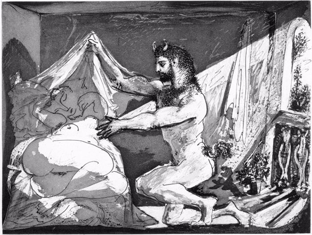 Fauno descubriendo a una mujer, uno de los grabados de 'Suite Vollard'