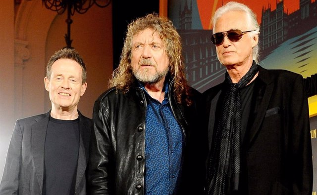 File photo dated 21/09/12 of (left to right) John Paul Jones, Robert Plant and J