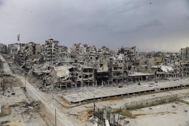 Ciudad destruida, ruinas de Homs