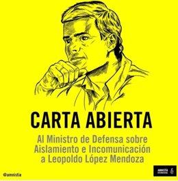 Amnistía Internacional traslada preocupación por detención de Leopoldo López