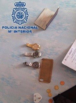 Relojes intervenidos tras ser robados en Puerto Banús (Marbella, Málaga)