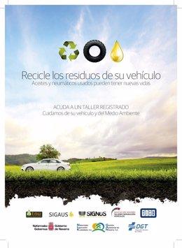 Cartel de la campaña sobre el reciclaje de residuos de automoción