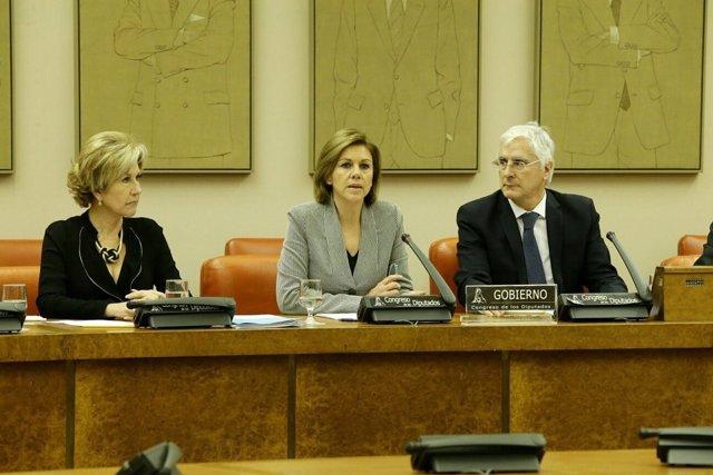 La ministra de Defensa, María Dolores de Cospedal, en el Congreso