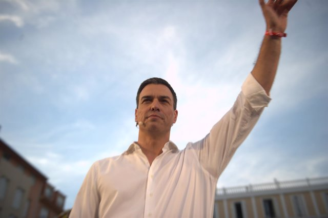 Pedro Sánchez en el mitin de arranque de la campaña
